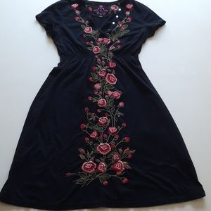Johnny Was extra small black embroidered dress